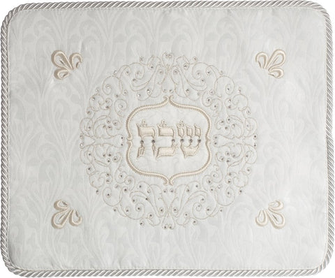 Malchut Jerusalem White Brocade Challah Cloth