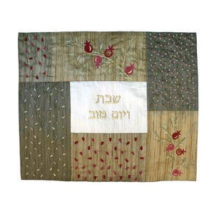 Yair Emanuel raw silk challah cover CMS-1 gold and copper pomegranate design