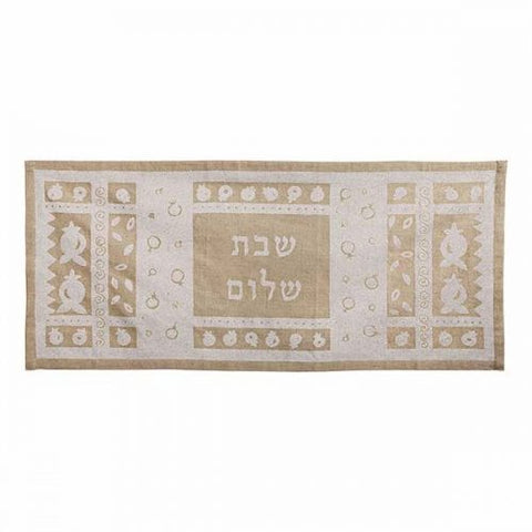 White on Tan Shabbat Shalom Linen Table Runner