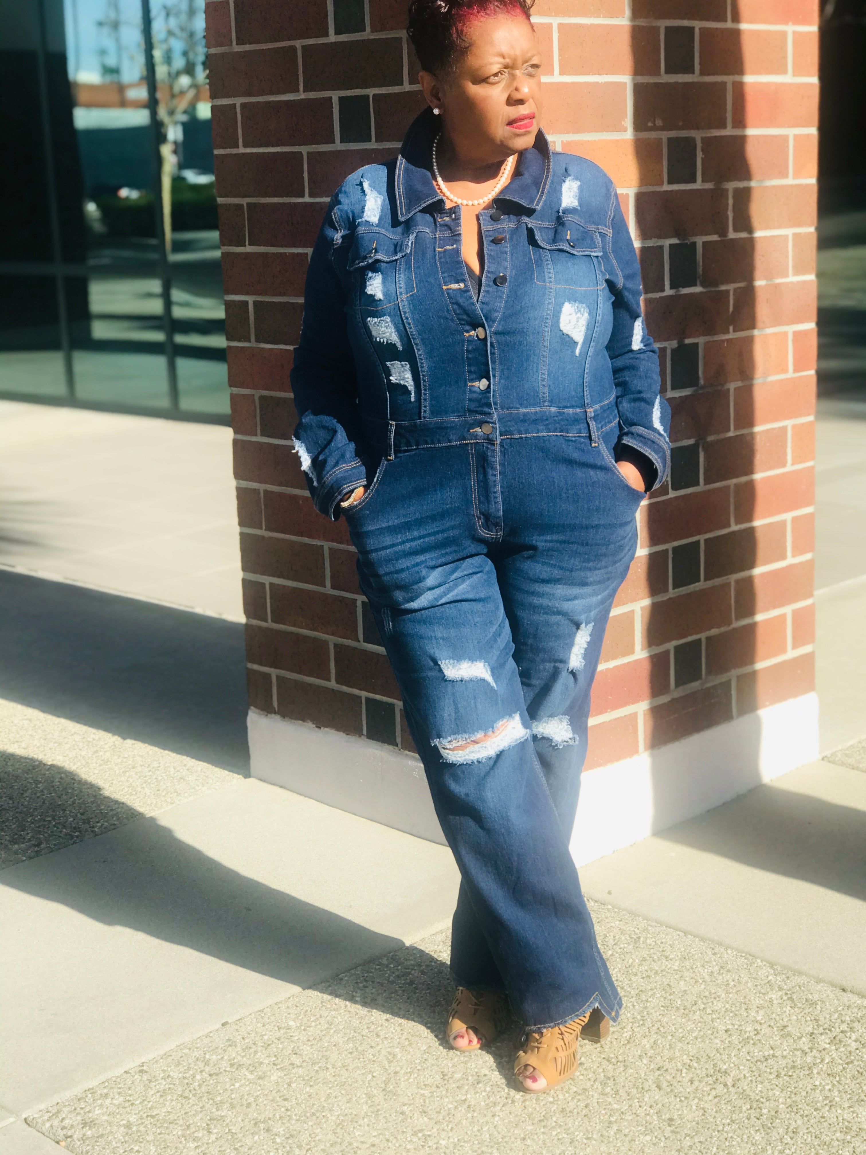 Stella Distressed Denim Jumpsuit - Shirley Girl Boutique