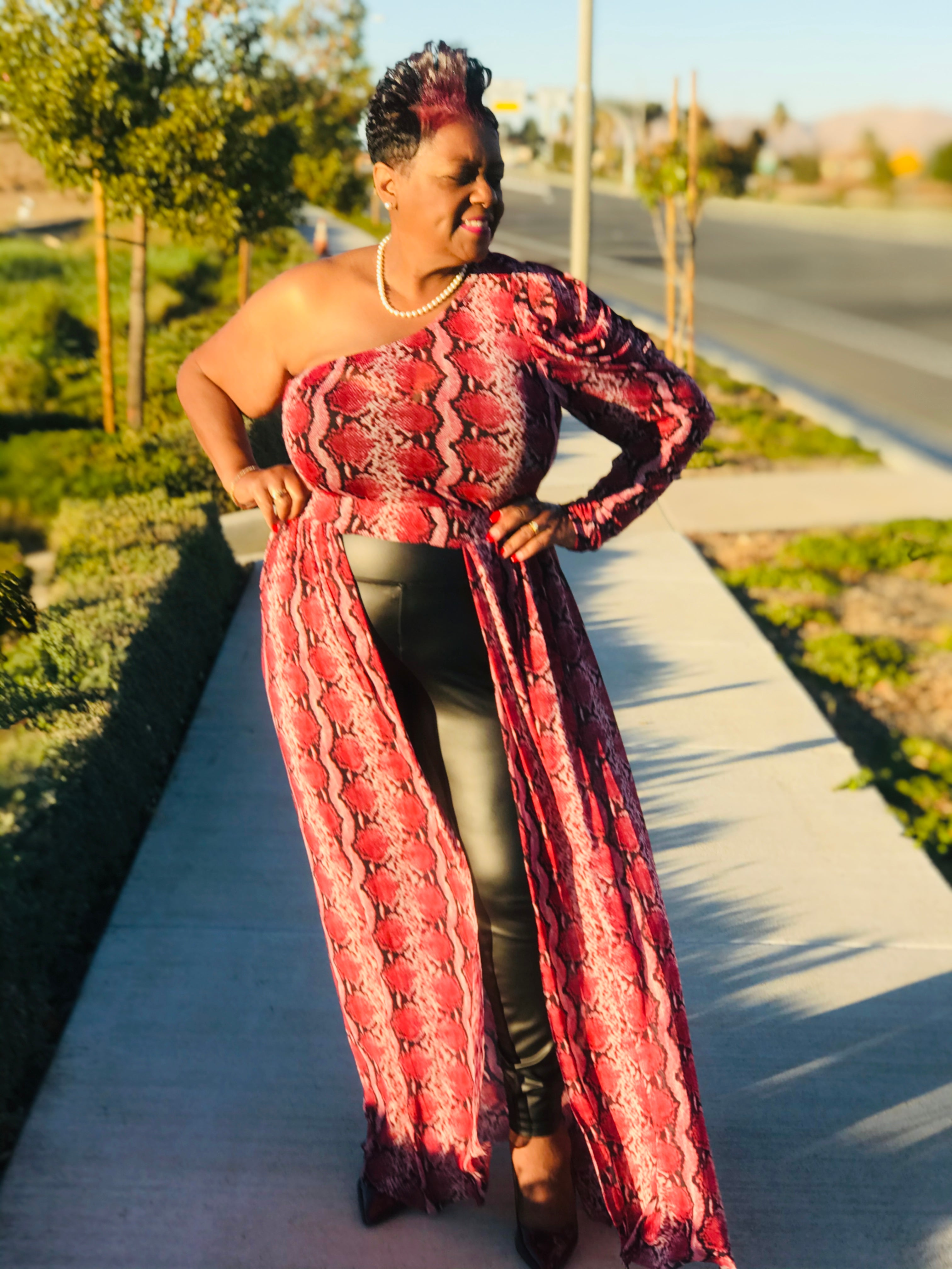 Ruby Red One Shoulder Open Maxi - Shirley Girl Boutique