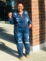 Load image into Gallery viewer, Stella Distressed Denim Jumpsuit - Shirley Girl Boutique