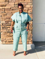 Load image into Gallery viewer, Sage Cargo Jumpsuit - Shirley Girl Boutique