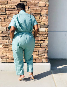 Sage Cargo Jumpsuit - Shirley Girl Boutique