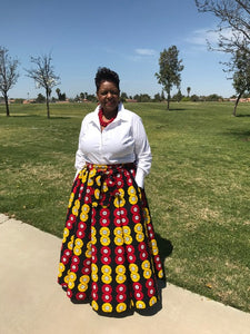 African Print Wax Maxi Skirt and Matching Head Wrap - Shirley Girl Boutique