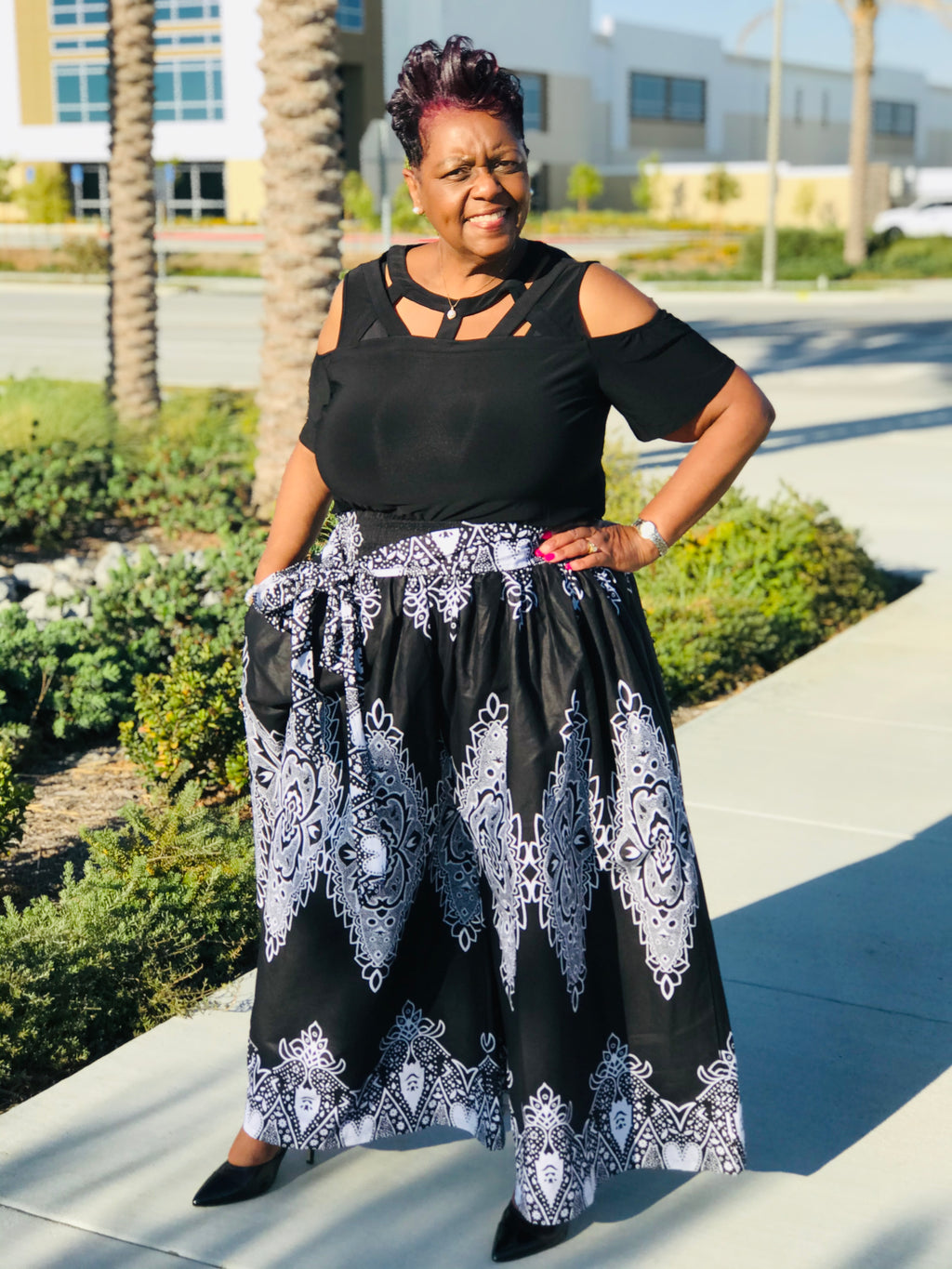 Ruthie Palazzo Pants and Matching Head Wrap - Shirley Girl Boutique