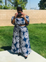 Load image into Gallery viewer, Blue Sunburst Palazzo's With Crop Top and Head Wrap - Shirley Girl Boutique