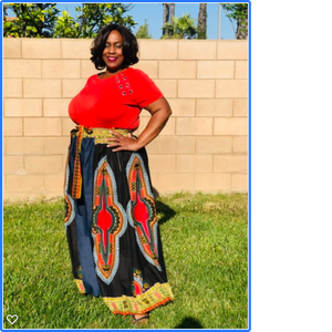 Casey Denim & Dashiki Palazzo Pants - Shirley Girl Boutique