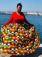 Load image into Gallery viewer, Primary Colors Maxi Skirt With Matching Handbag & Head Wrap - Shirley Girl Boutique