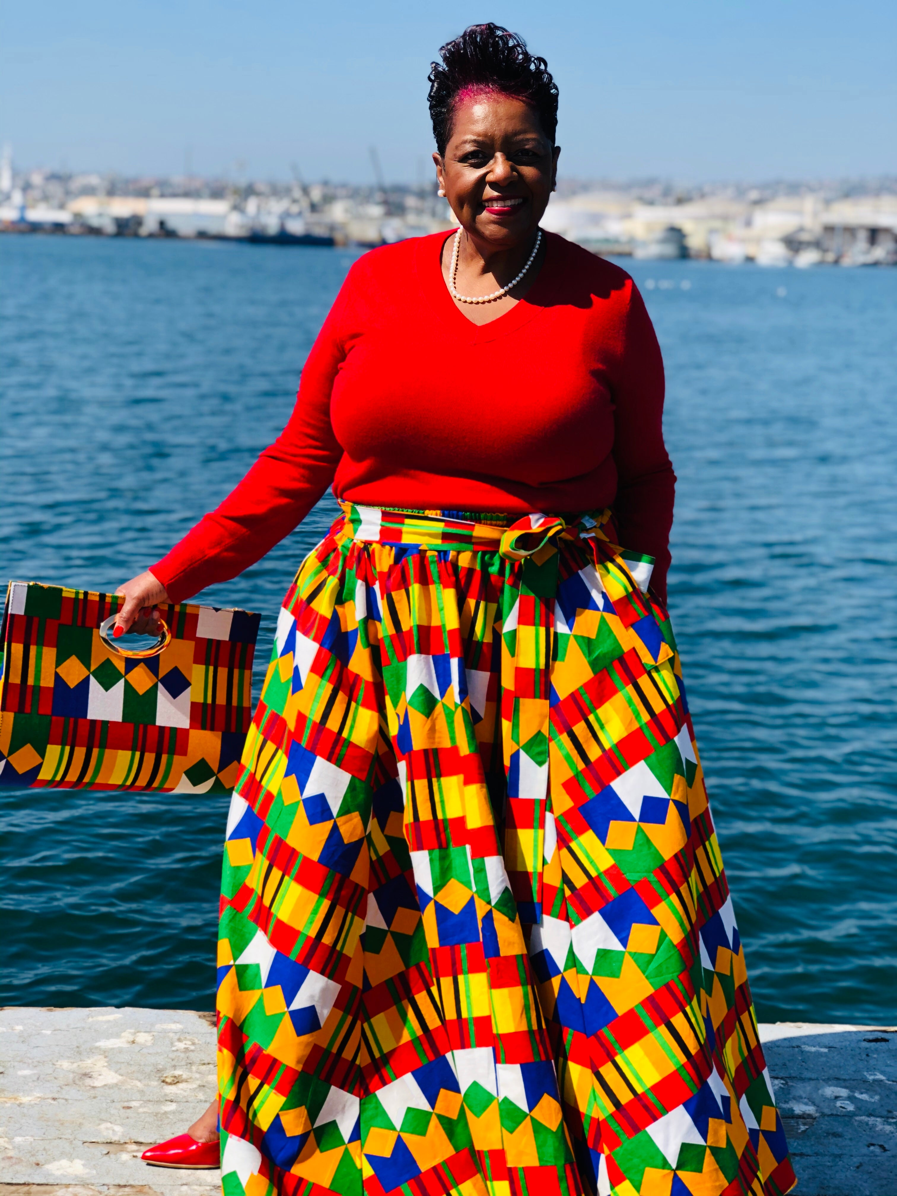 Primary Colors Maxi Skirt With Matching Handbag & Head Wrap - Shirley Girl Boutique