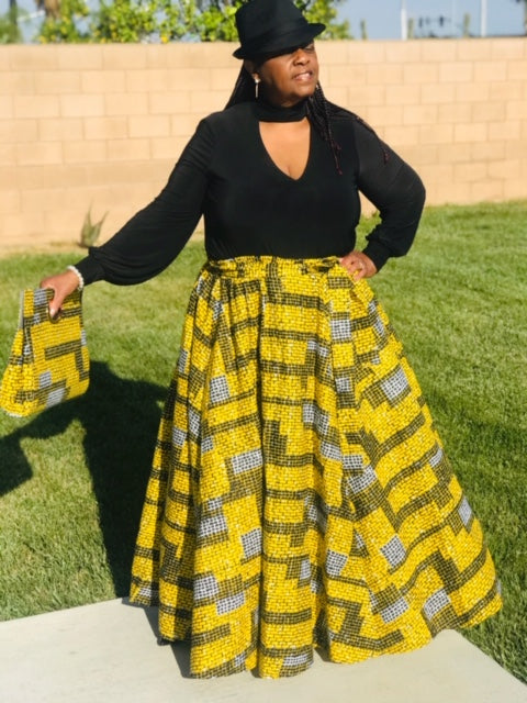 Black & Yellow Maxi Skirt Set  With Matching Handbag & Head Wrap - Shirley Girl Boutique