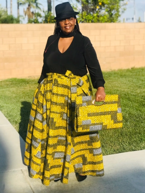 African Print Maxi Skirt With Matching Handbag & Head Wrap Set - Shirley Girl Boutique
