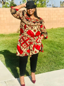 Taylor African Print  Tunic /Length Dress - Shirley Girl Boutique