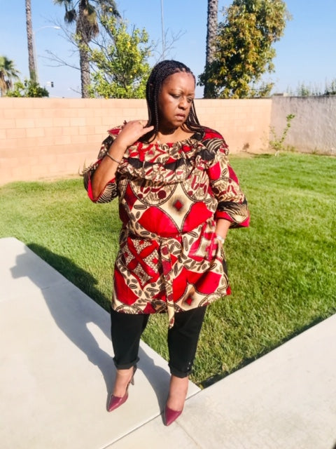 African Print Tunic or Knee Length Dress - Shirley Girl Boutique