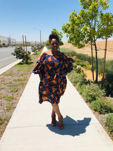 African Print Bell Sleeve Dress - Shirley Girl Boutique
