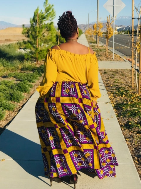 Peyton  Purple & Gold Maxi Skirt- Shirley Girl Boutique