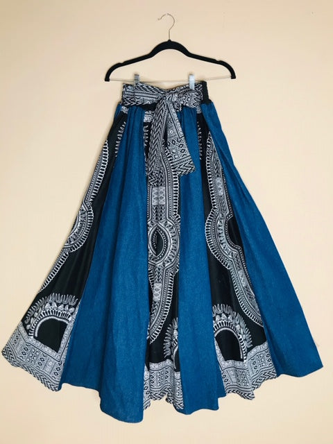 Denim and Traditional African Print  Maxi Skirt With Matching Head Wrap - Shirley Girl Boutique