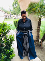 Load image into Gallery viewer, Denim and Traditional African Print  Maxi Skirt With Matching Head Wrap - Shirley Girl Boutique