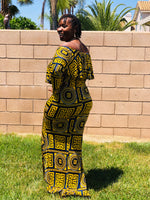 Load image into Gallery viewer, Off The Shoulder Color Block Maxi Dress - Shirley Girl Boutique
