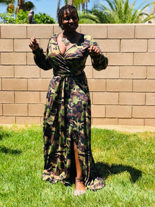 Alycia Camo Maxi With Split - Shirley Girl Boutique
