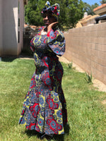 Load image into Gallery viewer, African Print Mermaid Maxi With Matching Head Wrap - Shirley Girl Boutique
