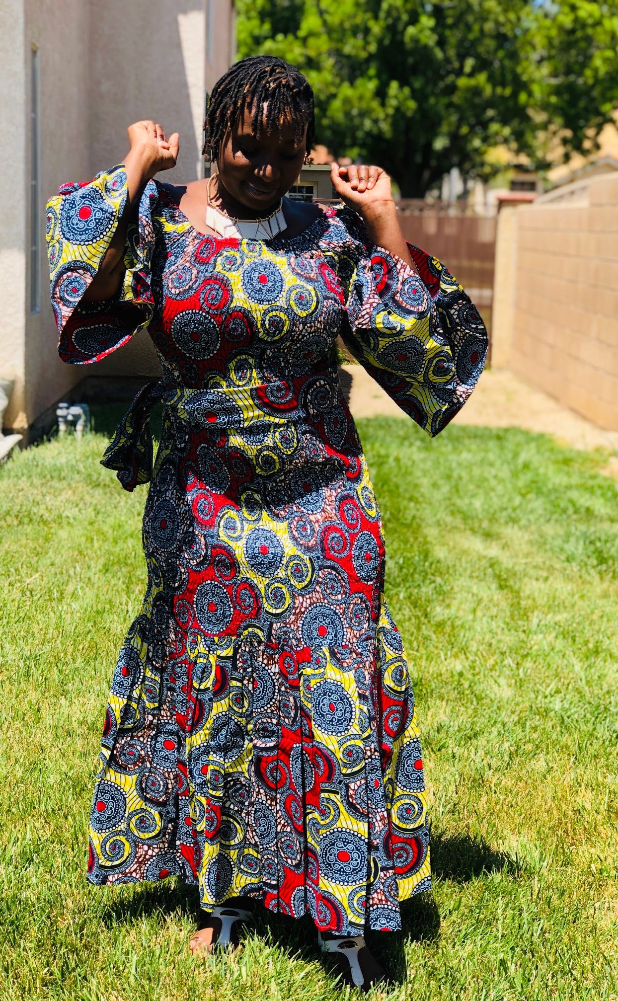 African Print Mermaid Maxi With Matching Head Wrap - Shirley Girl Boutique