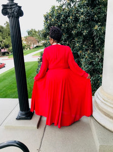 Red  Classy Flowy Maxi - Shirley Girl Boutique