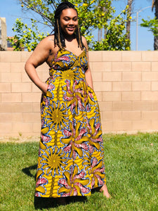 Yellow Strapless African Print Maxi Sundress - Shirley Girl Boutique