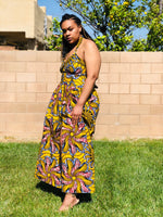 Load image into Gallery viewer, Yellow Strapless African Print Maxi Sundress - Shirley Girl Boutique