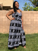 Load image into Gallery viewer, Black & White African Print Maxi Sundress - Shirley Girl Boutique