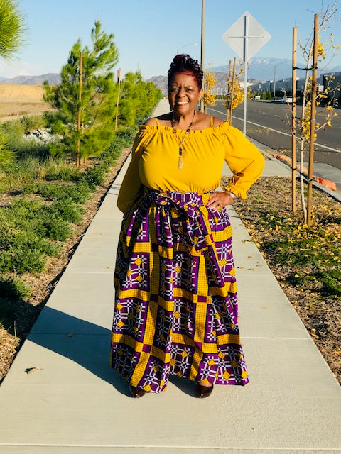 Peyton Purple and Gold Maxi Skirt- Shirley Girl Boutique