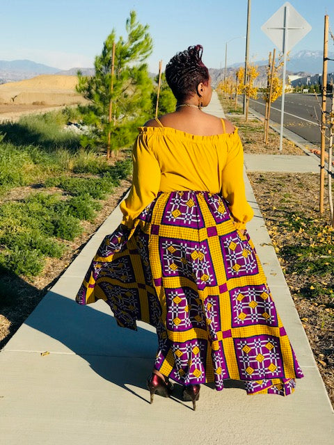 African Print Purple & Gold Maxi Skirt With Head Wrap - Shirley Girl Boutique