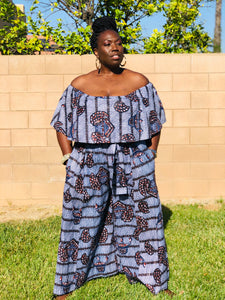 Sarell African Print Palazzo Pants And Crop Top - Shirley Girl Boutique