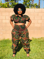 Load image into Gallery viewer, The Damia Harem Pants With Matching Crop Top and Head Wrap - Shirley Girl Boutique