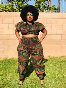 The Damia Harem Pants With Matching Crop Top and Head Wrap - Shirley Girl Boutique