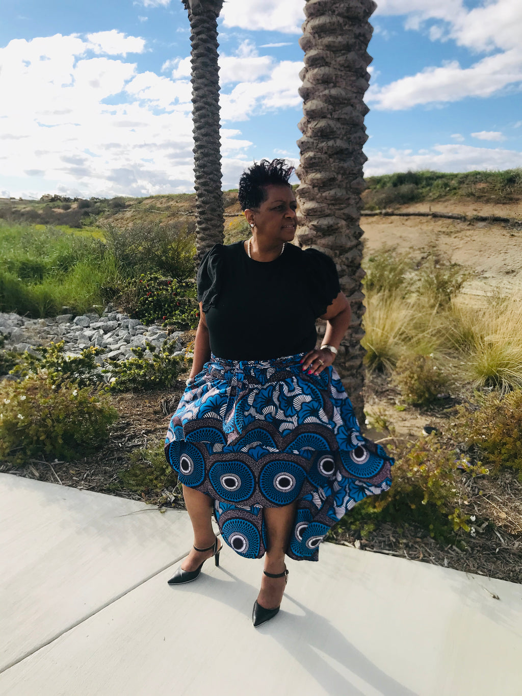 African Print Hi-Low Skirt With Matching Head Wrap - Shirley Girl Boutique