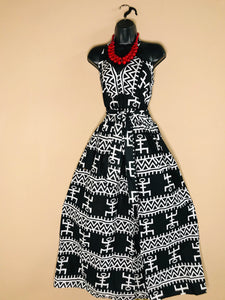 Black & White African Print Maxi Sundress - Shirley Girl Boutique