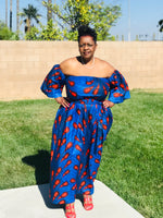 Load image into Gallery viewer, Indigo Blue Peacock African Print Maxi - Shirley Girl Boutique