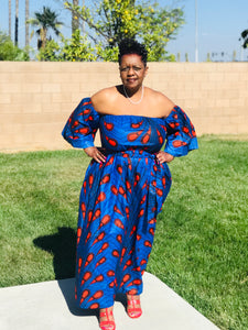 Indigo Blue Peacock African Print Maxi - Shirley Girl Boutique