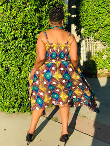 The Jazzy African Print Sun Dress - Shirley Girl Boutique