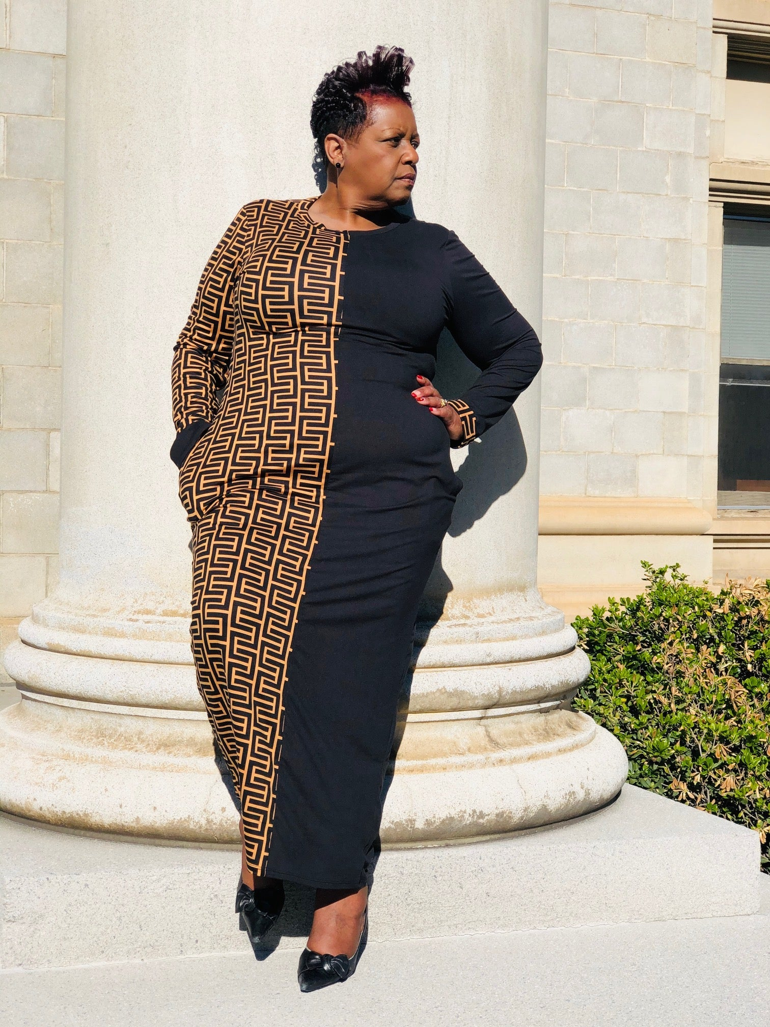 Black & Brown Color Block Maxi - Shirley Girl Boutique
