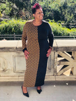 Load image into Gallery viewer, Black & Brown Color Block Maxi - Shirley Girl Boutique