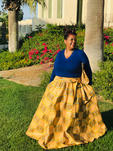 Queen Ada Full Length Maxi Skirt With Matching Handbag and Head Wrap - Shirley Girl Boutique