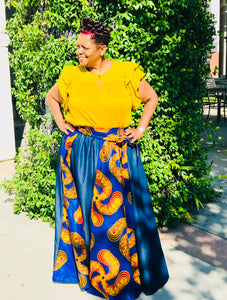 Denim Swirl African Print Maxi - Shirley Girl Boutique