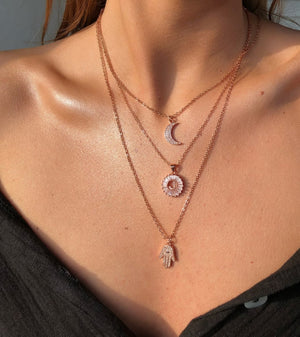 Hasma Hand Rose Gold Necklace - noughts&kisses
