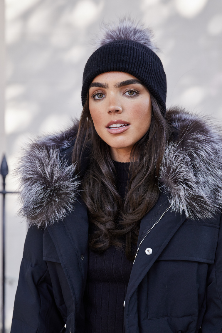 Black / Silver Fox SINGLE Bobble Hat - noughts&kisses