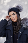 Black / Silver Fox DOUBLE Bobble Hat