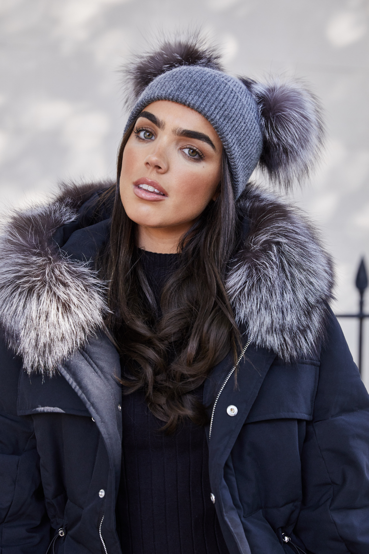 Dark Grey / Silver Fox DOUBLE Bobble Hat