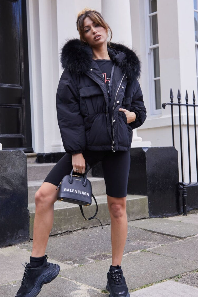 Nola Black Oversized Coat - Black Fur - noughts&kisses