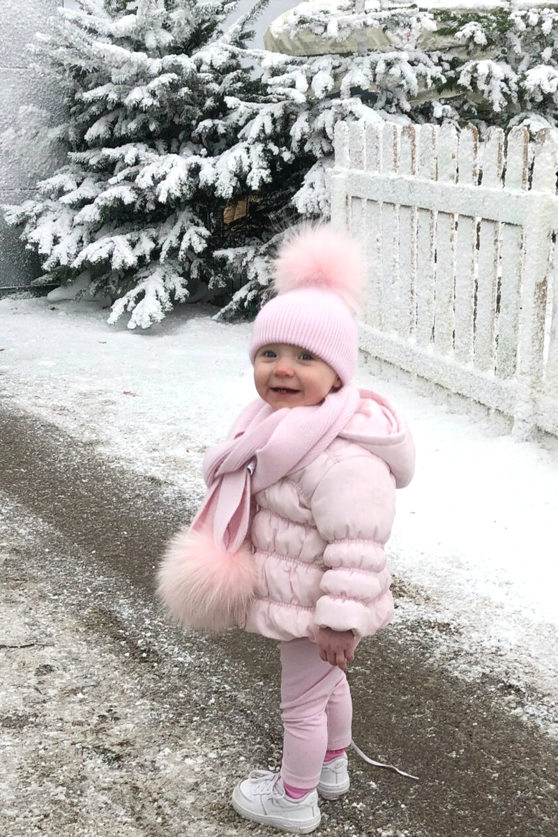 KIDS Baby Pink Single Bobble Hat & Scarf Set - noughts&kisses